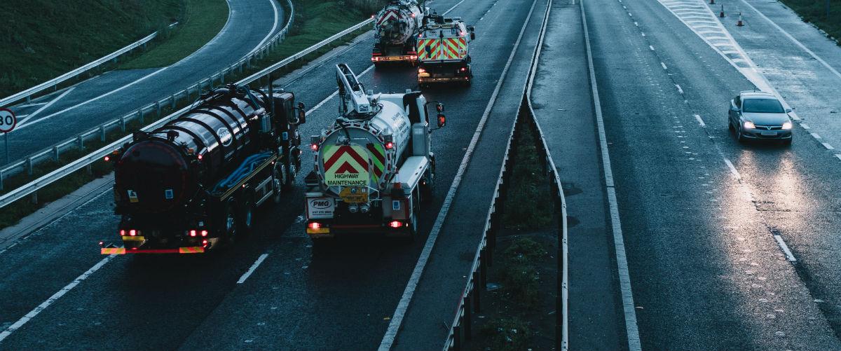 Tankers driving down motorway
