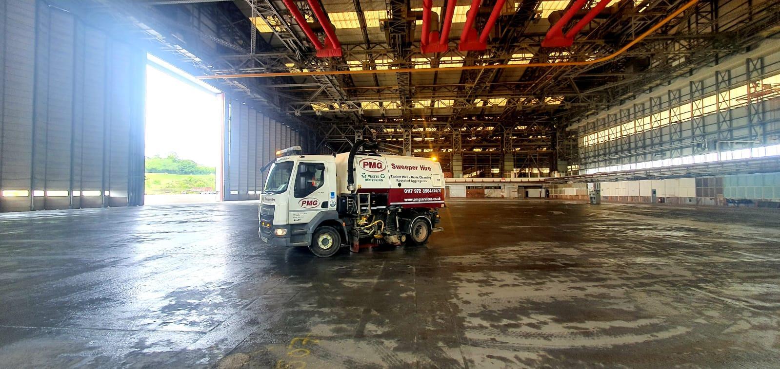 Road sweeping at Brabazon Hangar